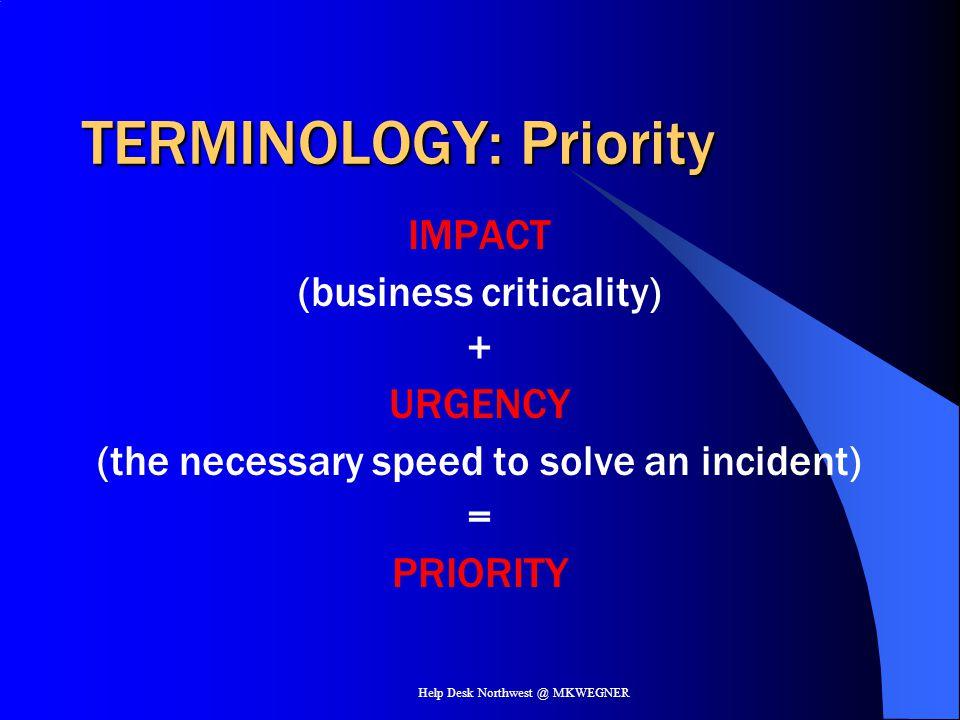TERMINOLOGY: Priority