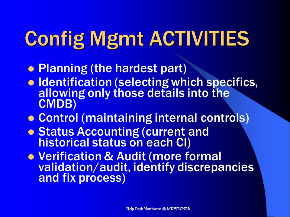 Config Mgmt ACTIVITIES