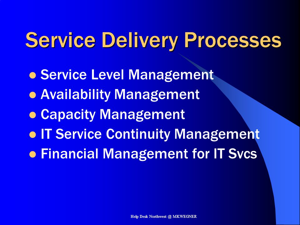 Service Delivery Processes