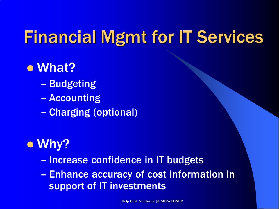 Financial Mgmt for IT Services