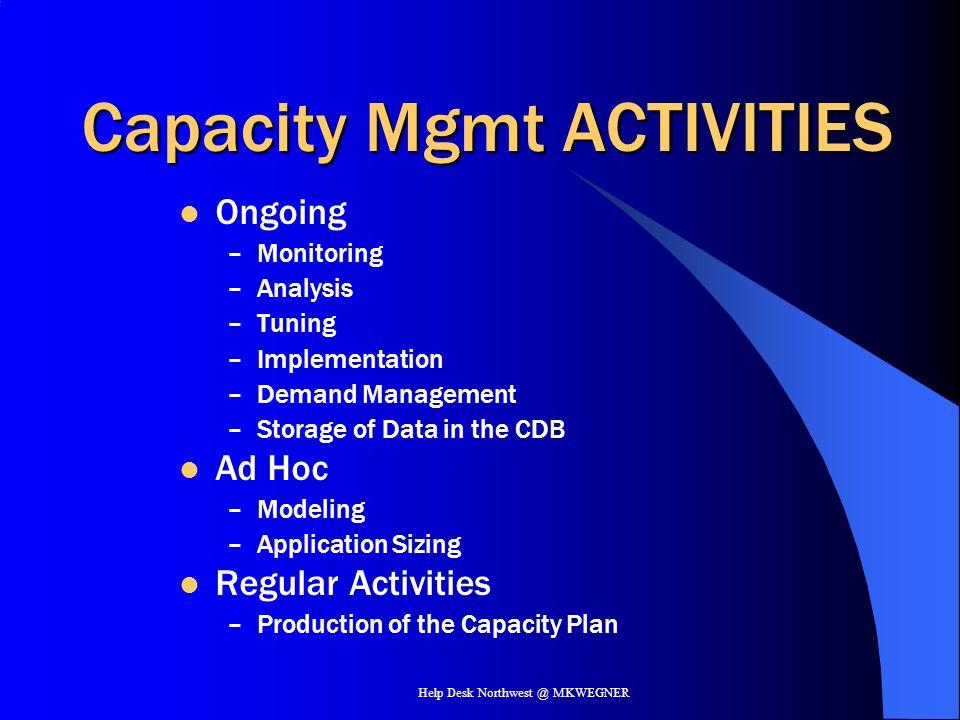 Capacity Mgmt ACTIVITIES