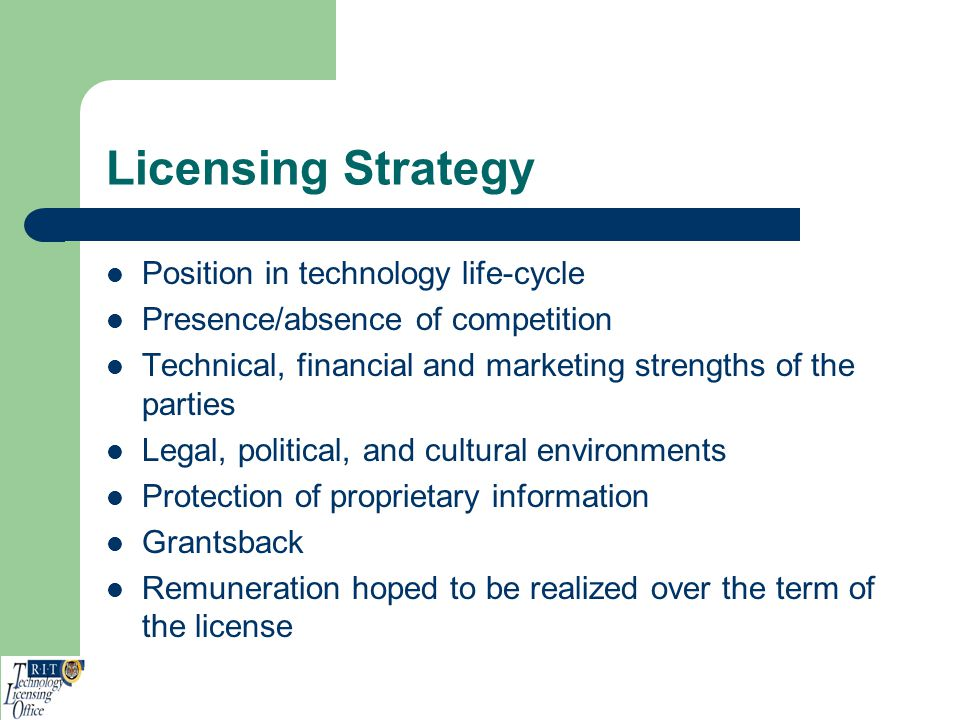 Licensing Strategy Position in technology life-cycle