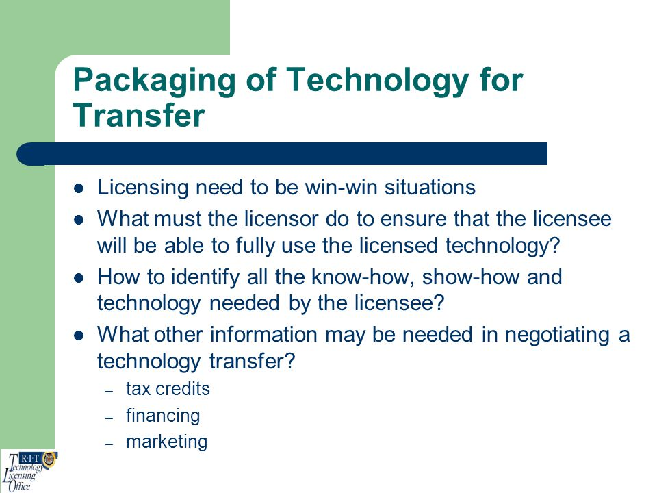 Packaging of Technology for Transfer