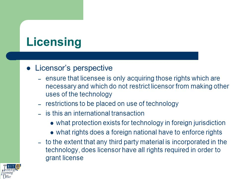 Licensing Licensor's perspective