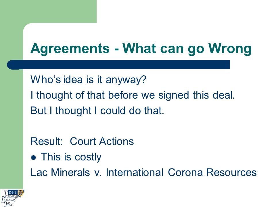 Agreements - What can go Wrong