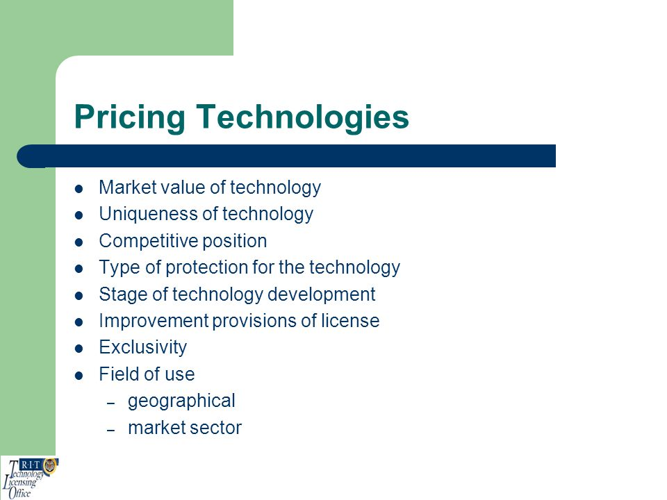 Pricing Technologies Market value of technology