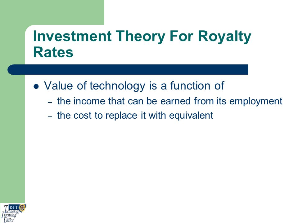 Investment Theory For Royalty Rates