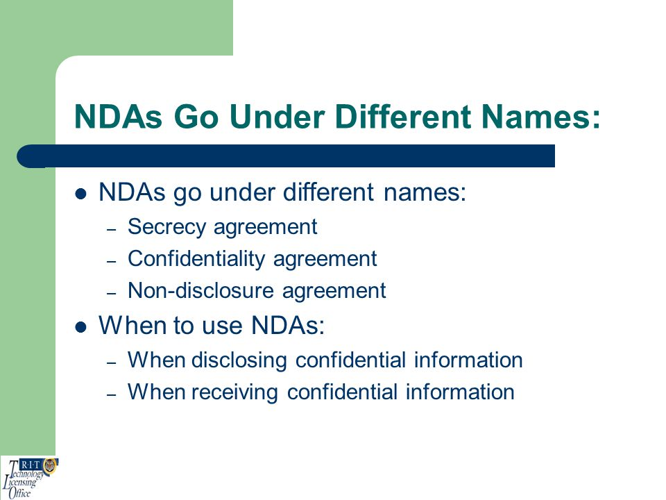 NDAs Go Under Different Names: