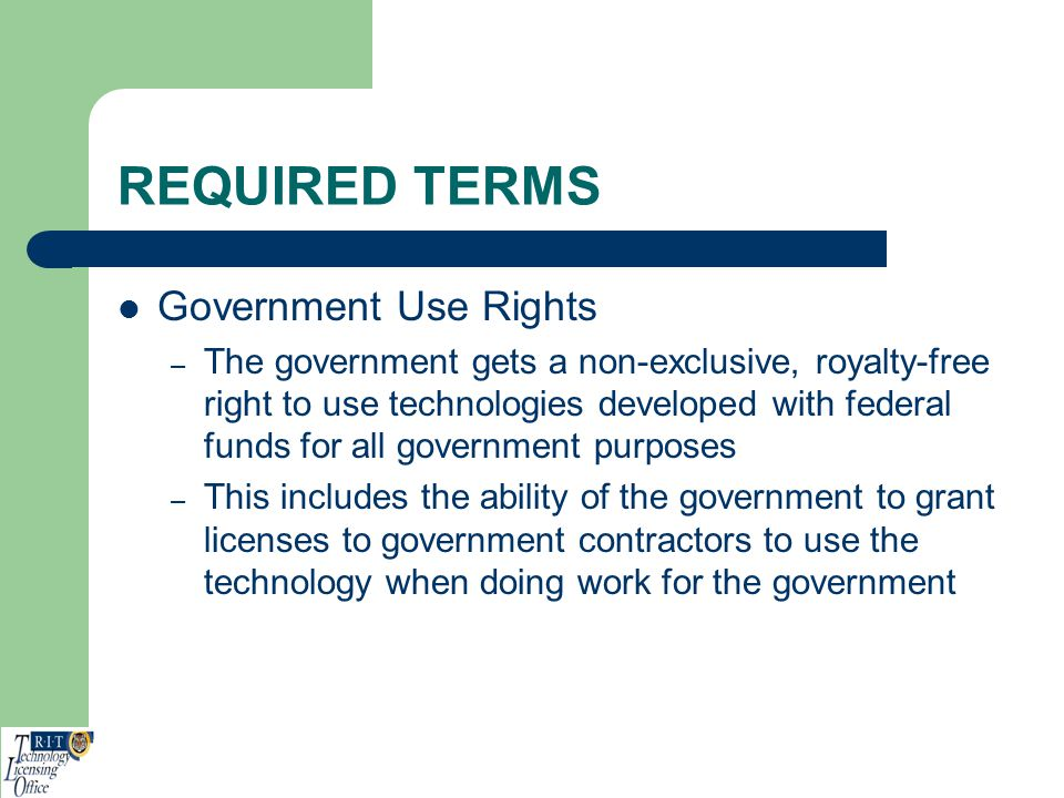 REQUIRED TERMS Government Use Rights