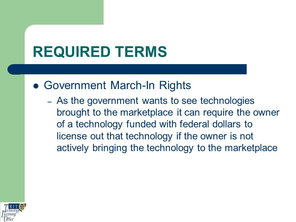 REQUIRED TERMS Government March-In Rights