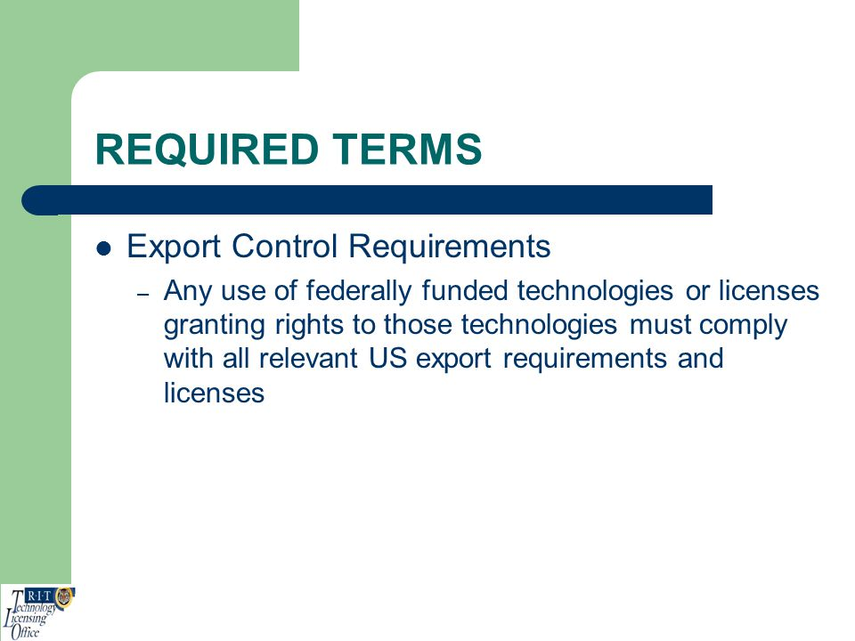 REQUIRED TERMS Export Control Requirements
