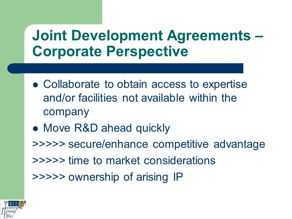 Joint Development Agreements – Corporate Perspective