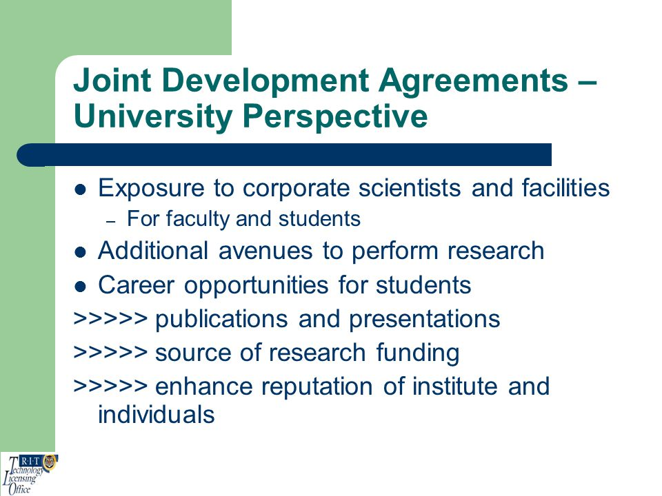 Joint Development Agreements – University Perspective
