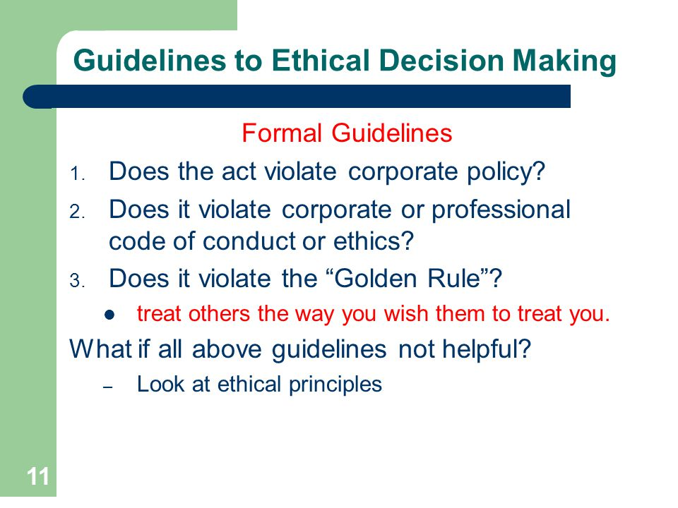 Guidelines to Ethical Decision Making