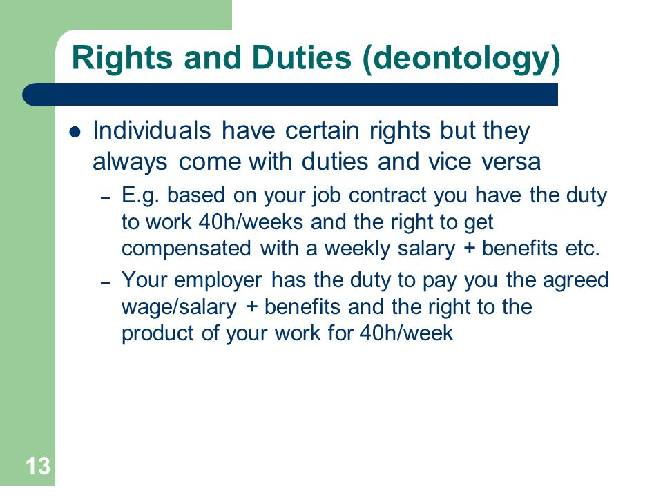 Rights and Duties (deontology)