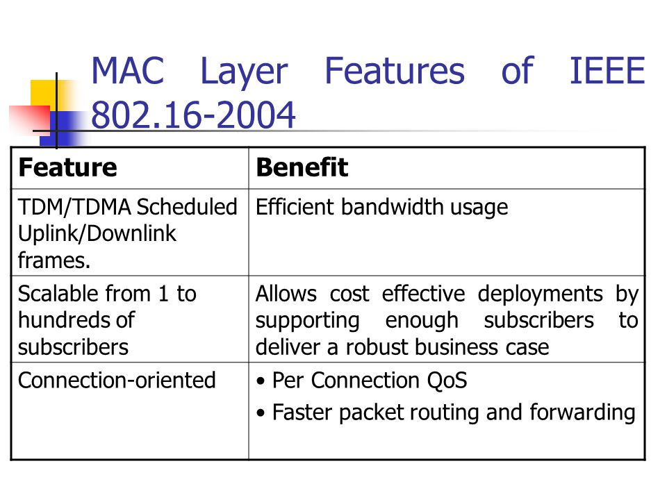MAC Layer Features of IEEE 802.16-2004