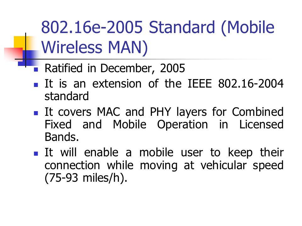 802.16e-2005 Standard (Mobile Wireless MAN)