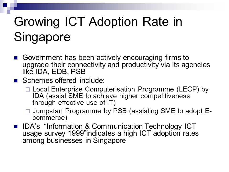 Growing ICT Adoption Rate in Singapore