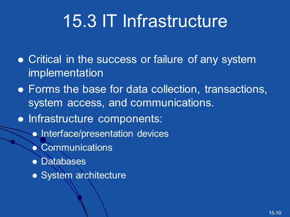 15.3 IT Infrastructure Critical in the success or failure of any system implementation.