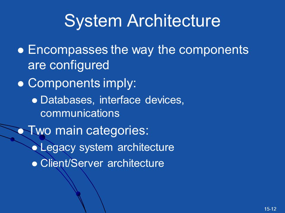 System Architecture Encompasses the way the components are configured