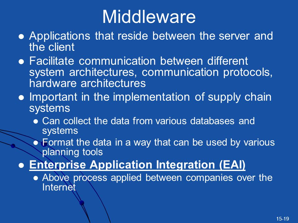 Middleware Applications that reside between the server and the client