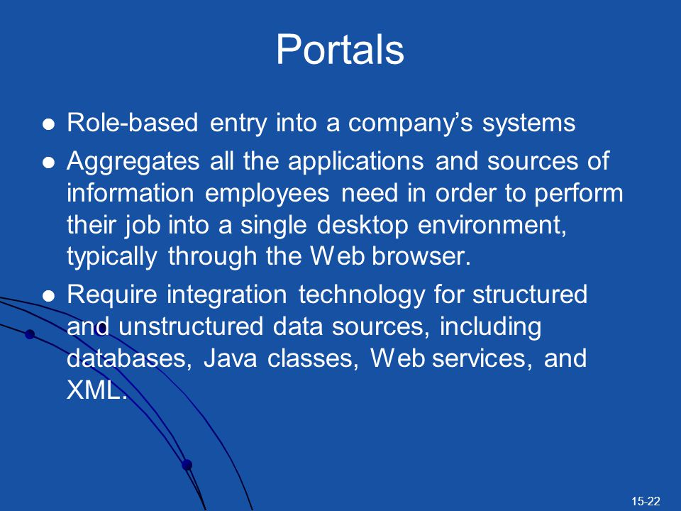 Portals Role-based entry into a company's systems