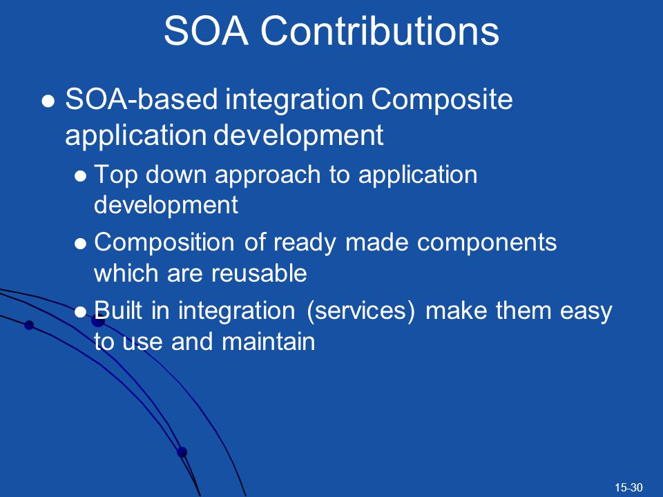 SOA Contributions SOA-based integration Composite application development. Top down approach to application development.