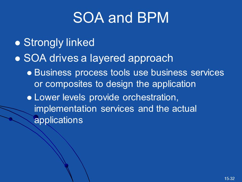 SOA and BPM Strongly linked SOA drives a layered approach