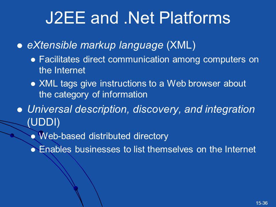 J2EE and .Net Platforms eXtensible markup language (XML)