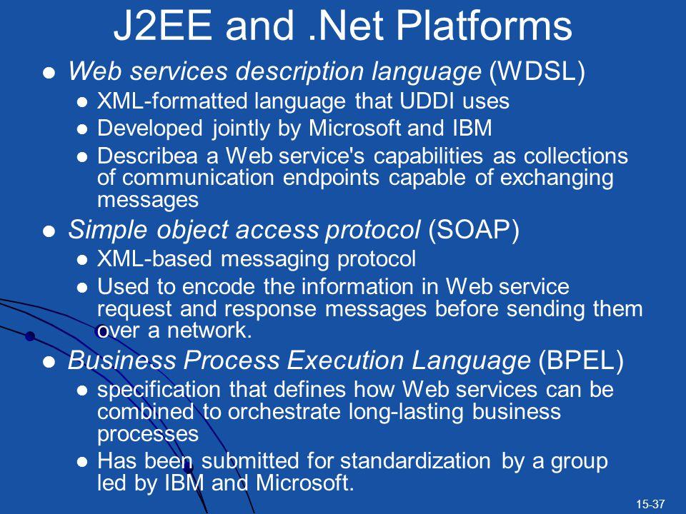 J2EE and .Net Platforms Web services description language (WDSL)