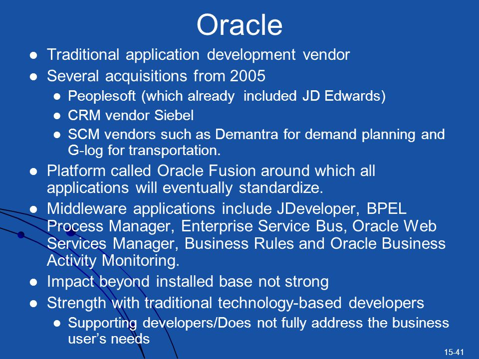 Oracle Traditional application development vendor