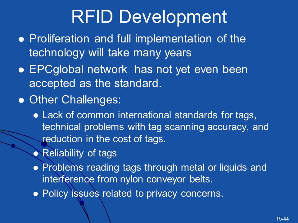 RFID Development Proliferation and full implementation of the technology will take many years.