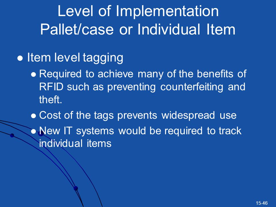 Level of Implementation Pallet/case or Individual Item
