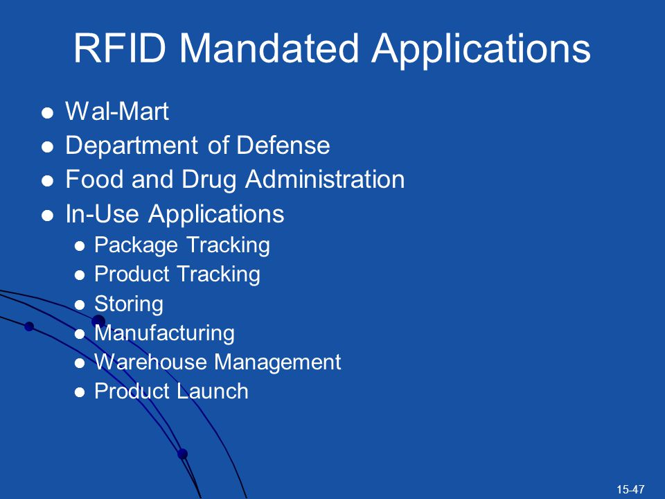 RFID Mandated Applications