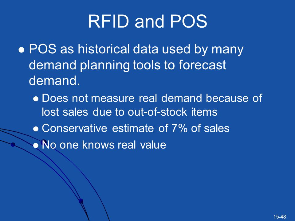 RFID and POS POS as historical data used by many demand planning tools to forecast demand.