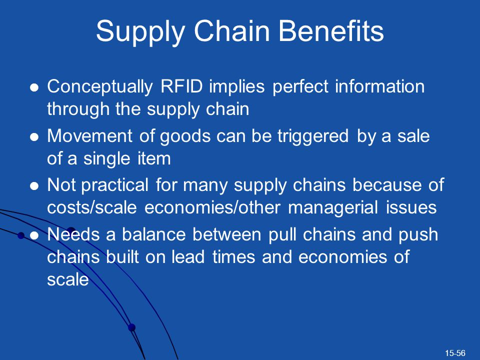 Supply Chain Benefits Conceptually RFID implies perfect information through the supply chain.