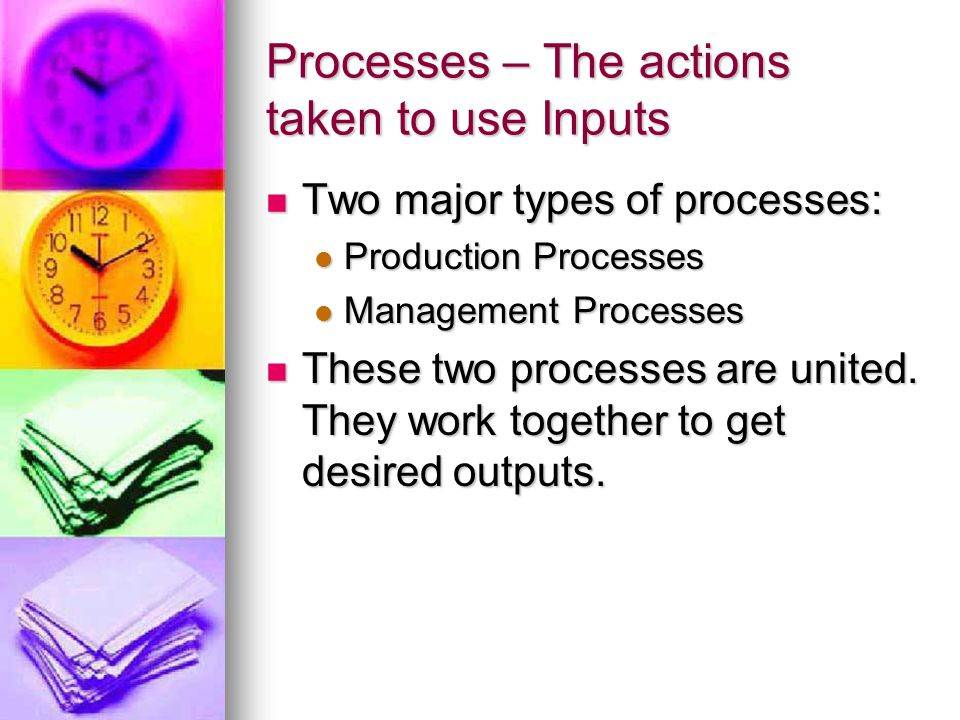 Processes – The actions taken to use Inputs