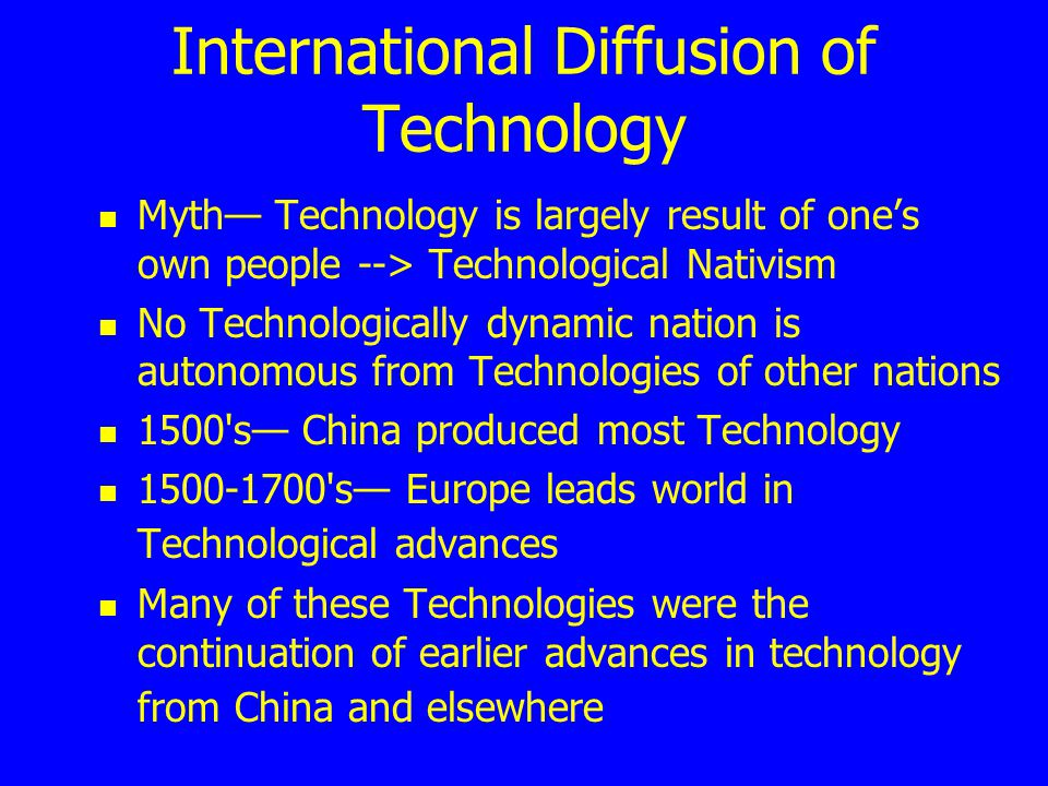 International Diffusion of Technology