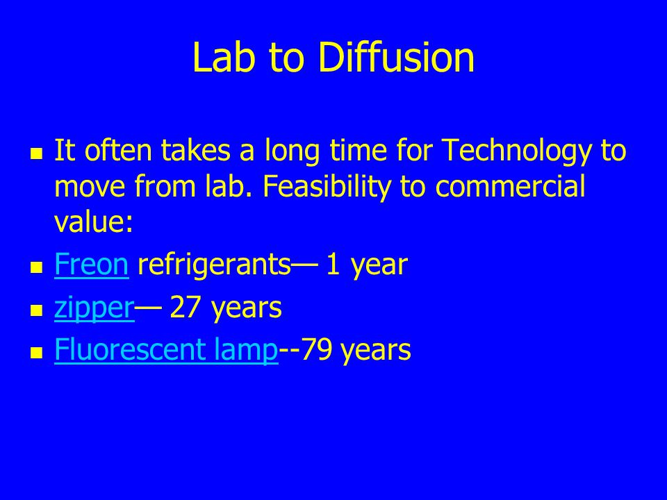 Lab to Diffusion It often takes a long time for Technology to move from lab. Feasibility to commercial value: