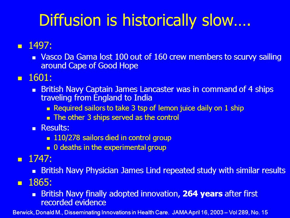 Diffusion is historically slow….