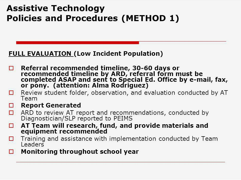 Assistive Technology Policies and Procedures (METHOD 1)