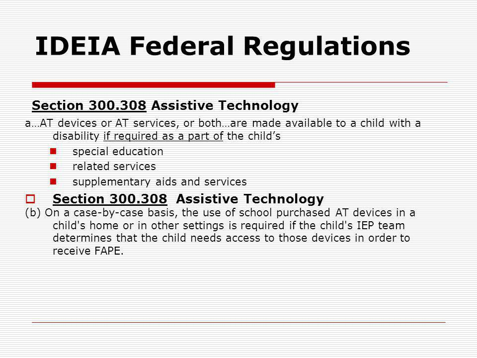 IDEIA Federal Regulations