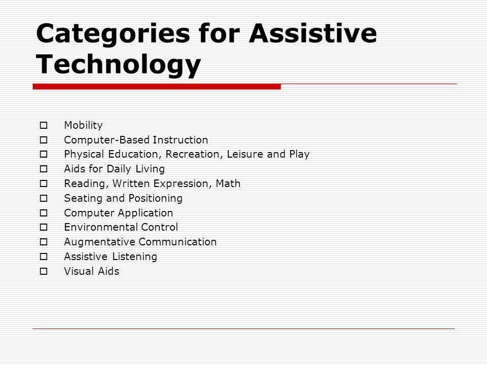 Categories for Assistive Technology