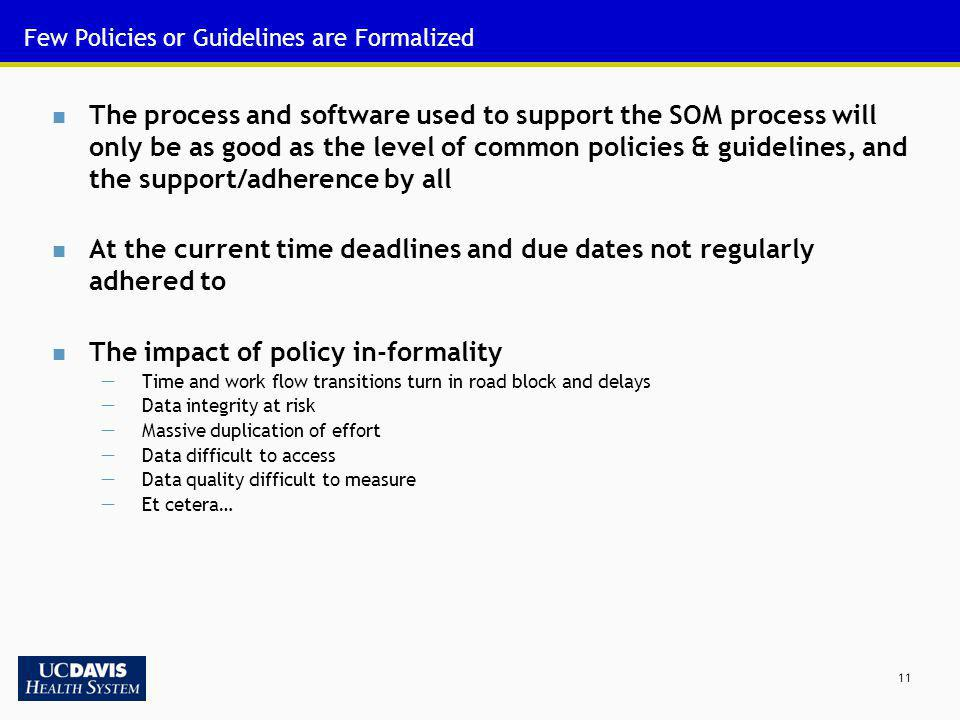 Few Policies or Guidelines are Formalized
