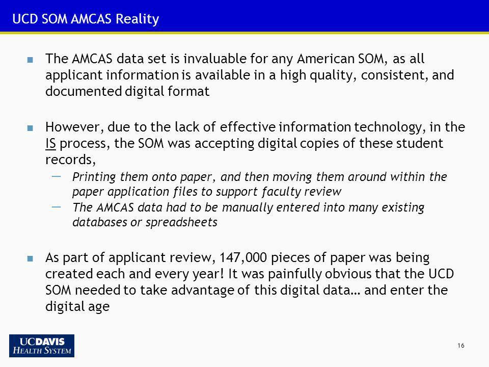 UCD SOM AMCAS Reality