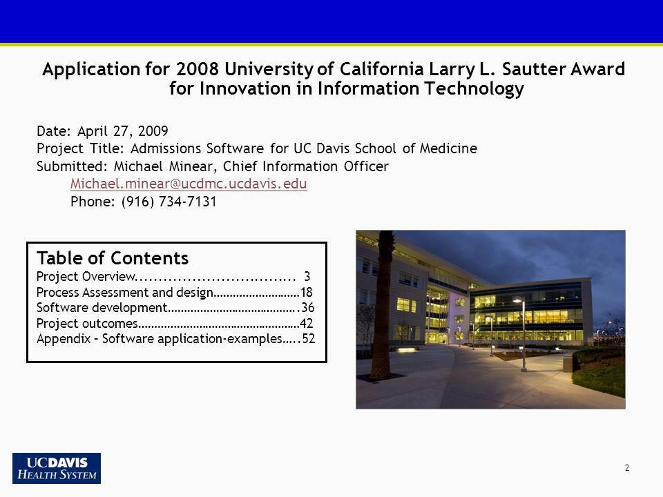Application for 2008 University of California Larry L