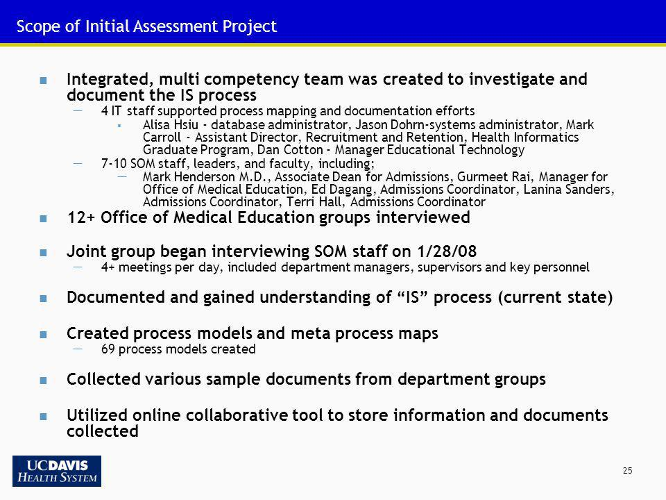 Scope of Initial Assessment Project