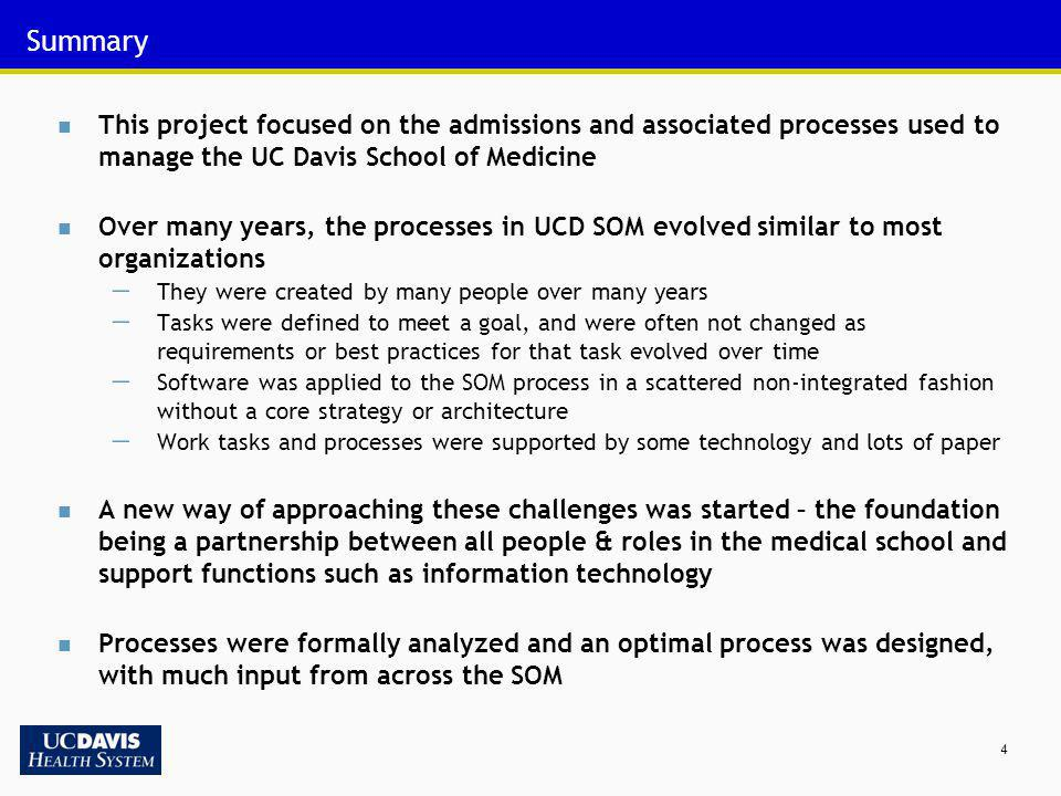 Summary This project focused on the admissions and associated processes used to manage the UC Davis School of Medicine.