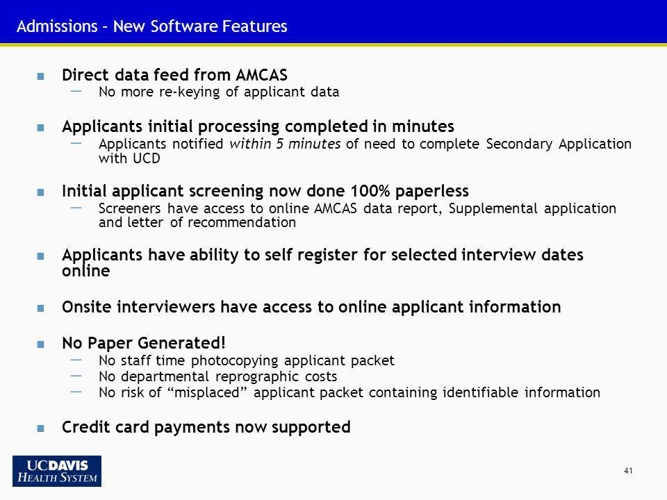 Admissions – New Software Features