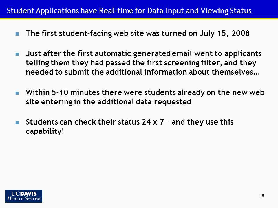 Student Applications have Real-time for Data Input and Viewing Status